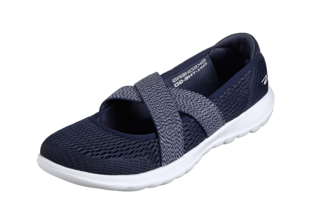 Skechers Go Walk Lite Cutesy Navy White Mary Jane Comfort Shoes
