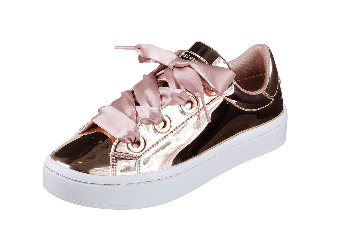3bf04a0f29c4 Skechers Hi Lites Liquid Bling Rose Gold Metallic Satin Laces Fashion  Trainers - KissShoe