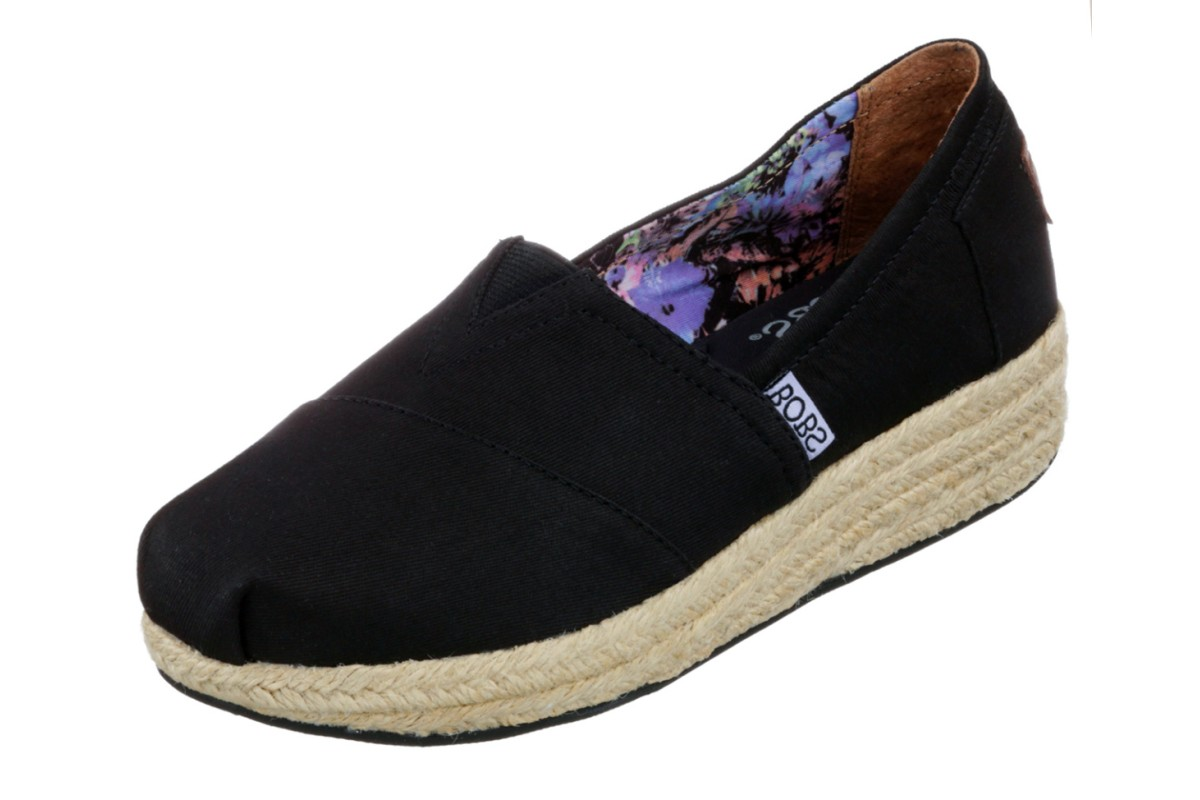 Skechers Highlights Black Canvas Memory Foam Wedge Heel Espadrille Shoes