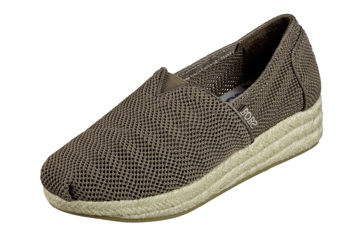 Skechers Highlights Main Event Taupe Memory Foam Wedge Espadrille Shoes