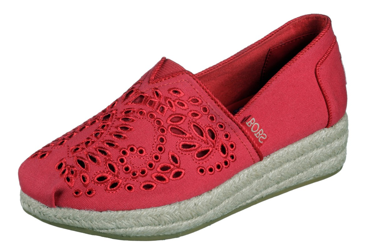 Skechers Highlights Sun Flower Red Memory Foam Wedge Espadrille Shoes
