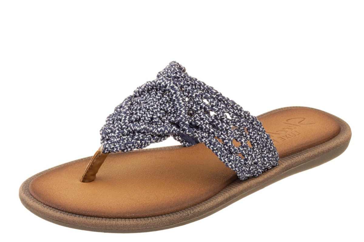 Skechers Indulge Cruising Navy Silver Crochet Women's Flat Sandals