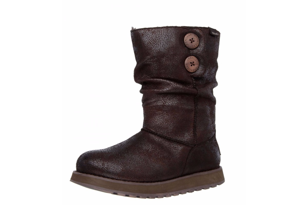 Skechers Keepsakes Leather-Esque Chocolate Flat Ankle Boots