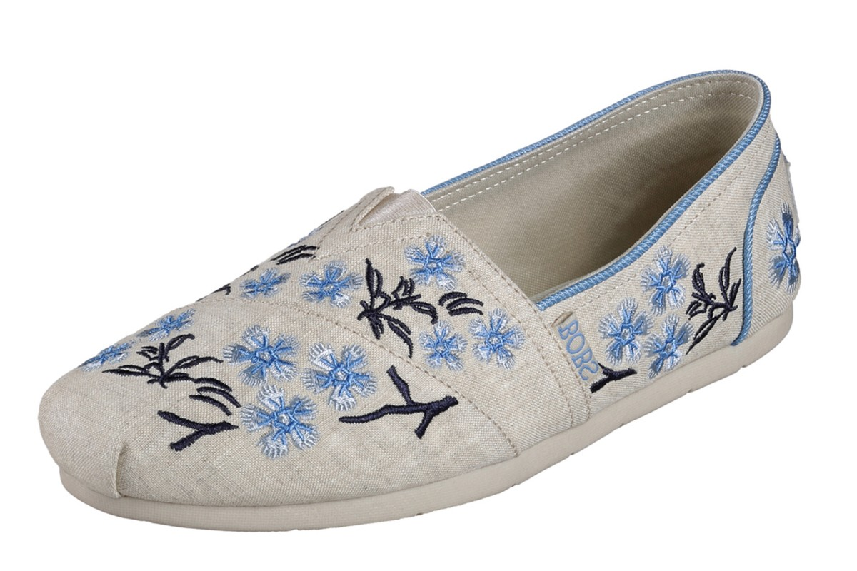 Skechers Luxe Bobs Green Tea Natural Floral Flat Memory Foam Shoes