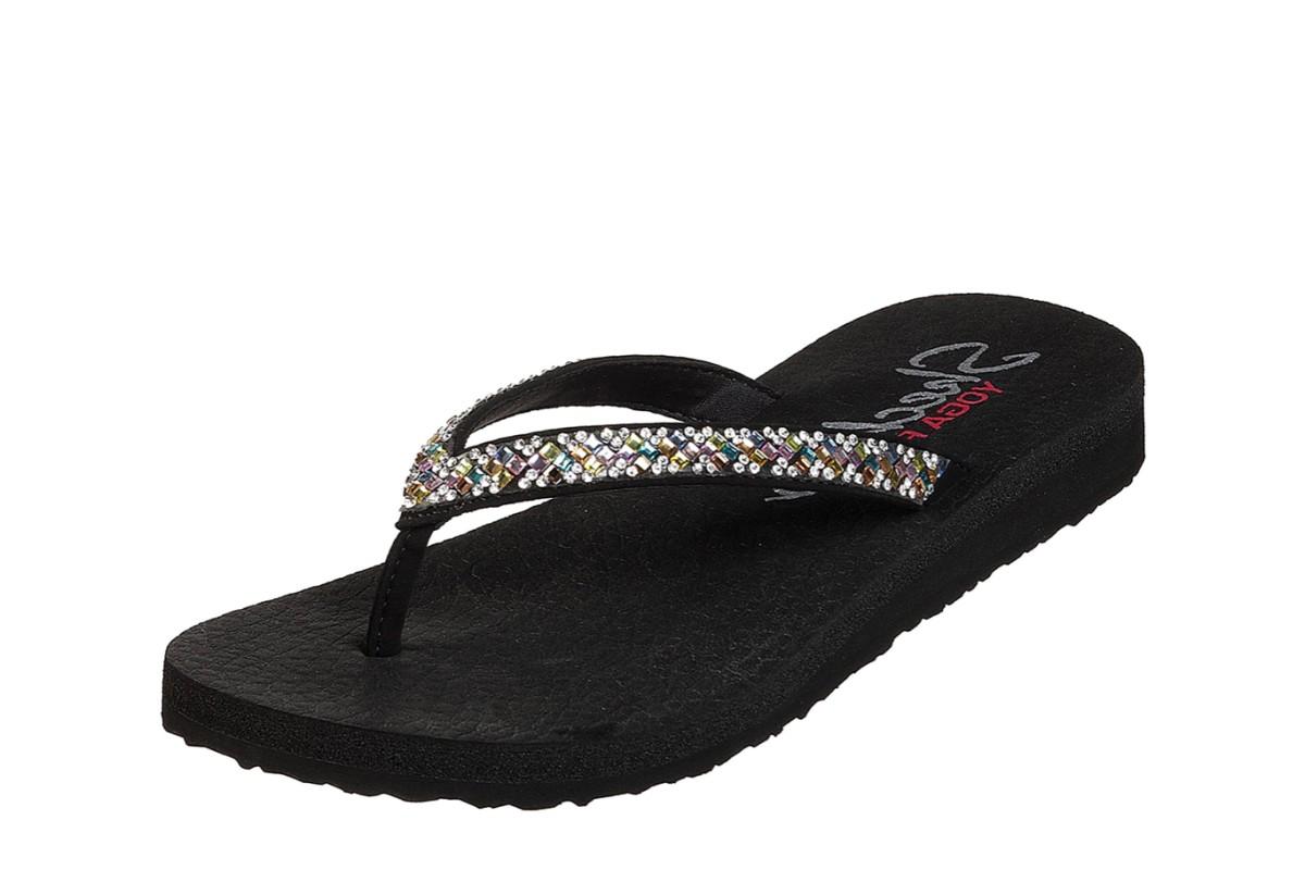 2500407f2 Skechers Meditation Perfect 10 Black Multi Pastel Diamante Low Wedge Flip  Flops Sandals - KissShoe