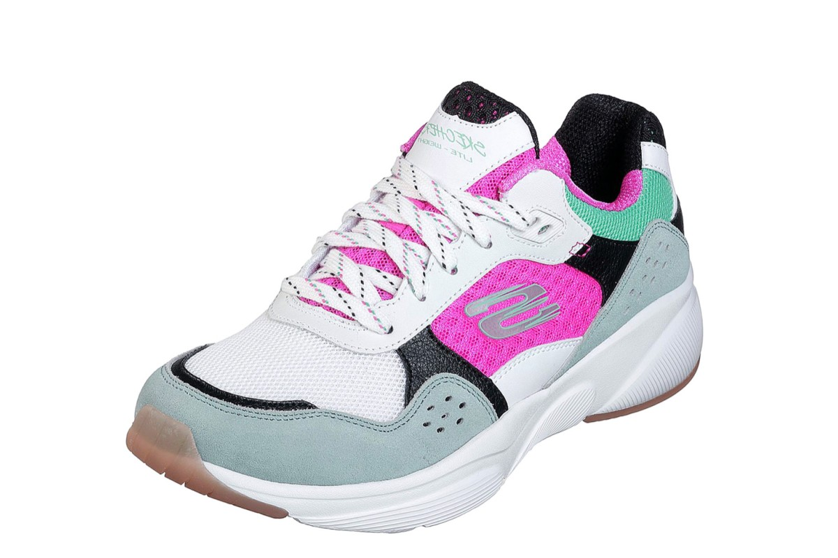 09e2e7933638 Skechers Meridian Charted White Multi Pink Memory Foam Trainers. ‹ ›