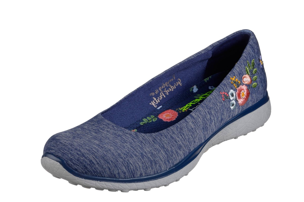 Skechers Microburst Botanical Paradise Navy Floral Embroidered Ballet Shoes