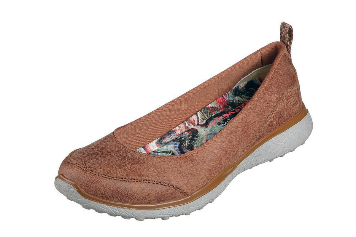 Skechers Microburst Lightness Chestnut Tan Memory Foam Ballet Shoes
