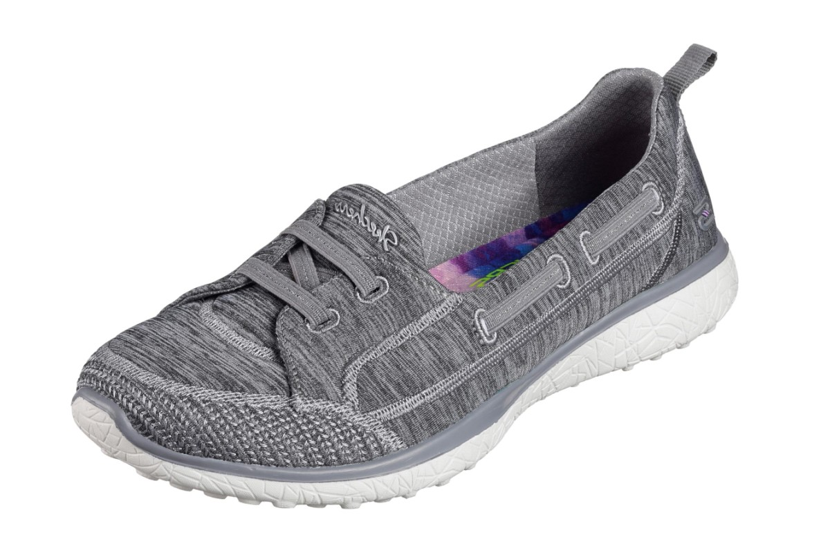 Skechers Microburst Topnotch Grey Memory Foam Slip On Flat Shoes