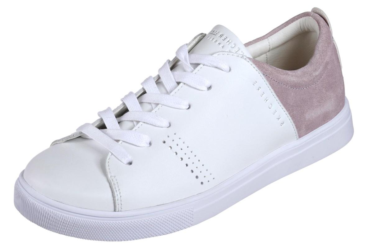 Skechers Moda Clean Street White Lavender Leather Memory