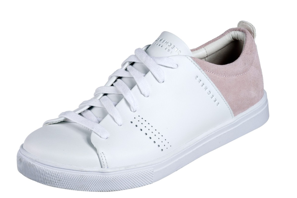 Skechers Moda Clean Street White Pink Leather Memory Foam Trainers