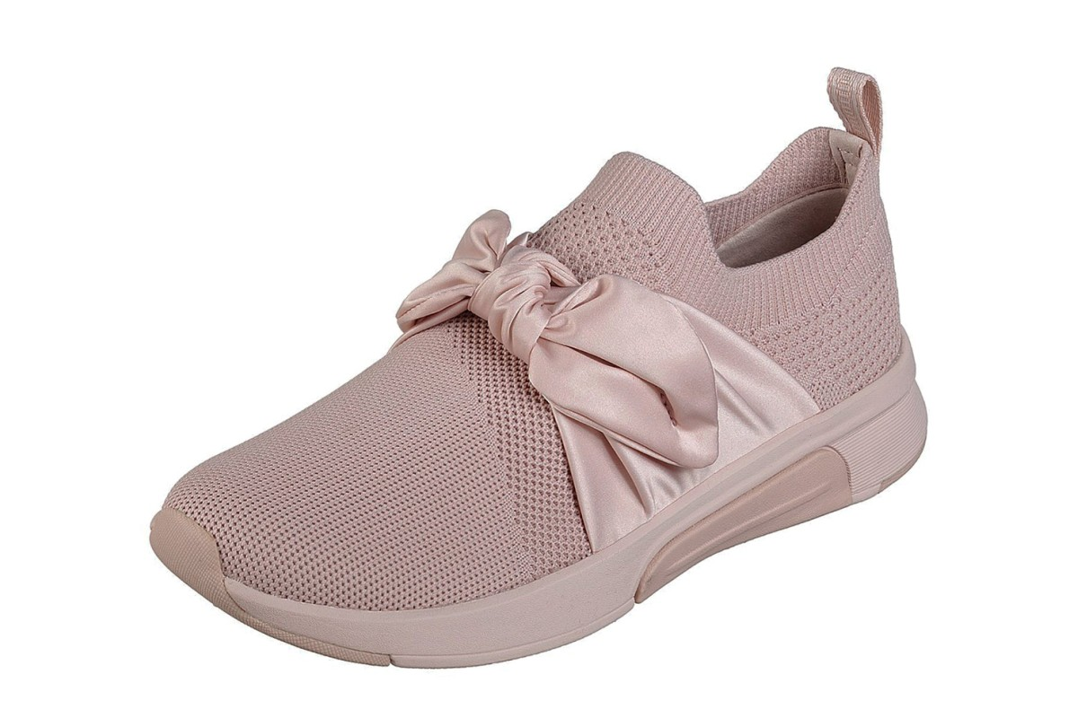 Skechers Modern Jogger Debbie Pink Slip On Bow Trainers