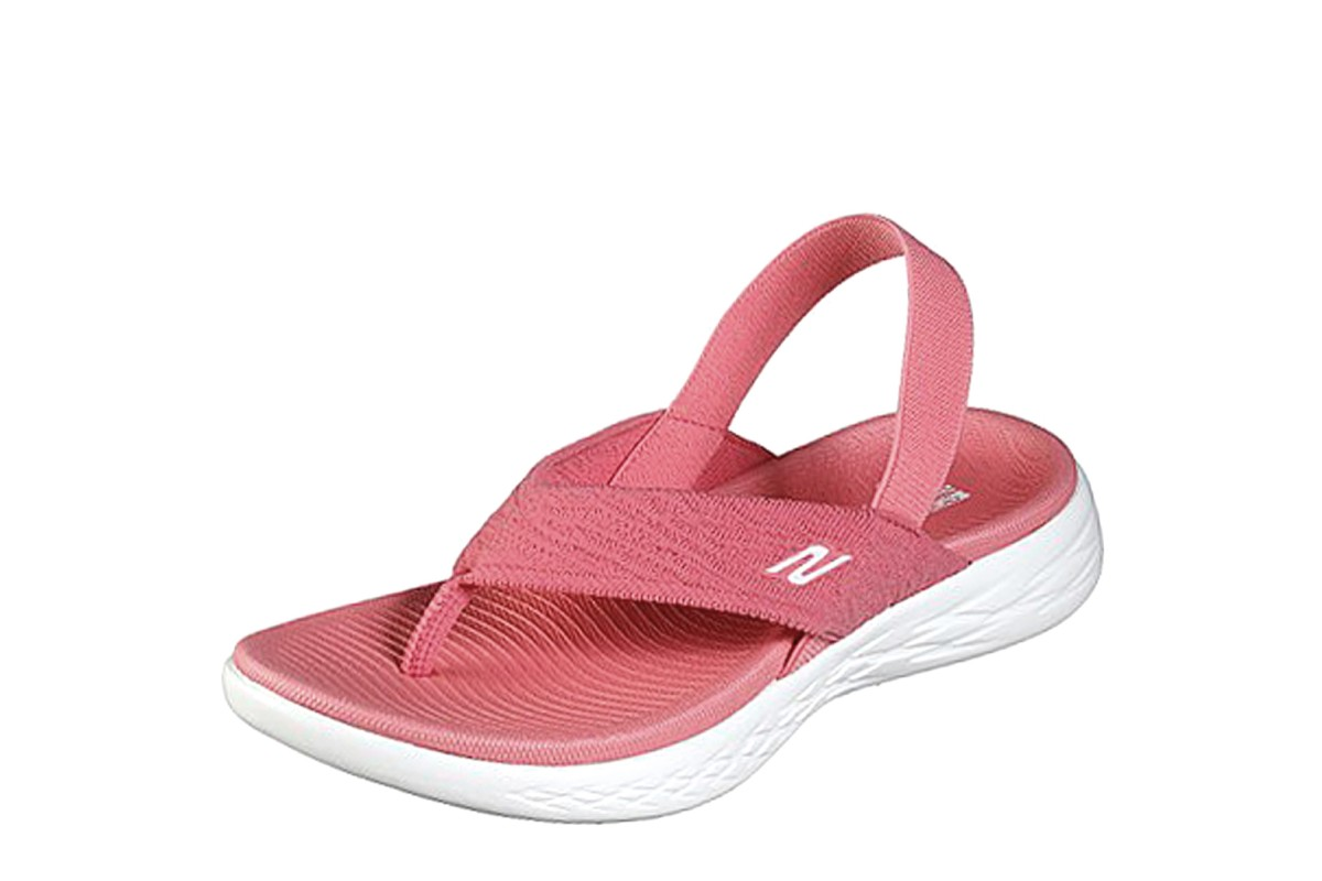 Skechers On The Go 600 Beach Day Pink Slingback Comfort Sandals