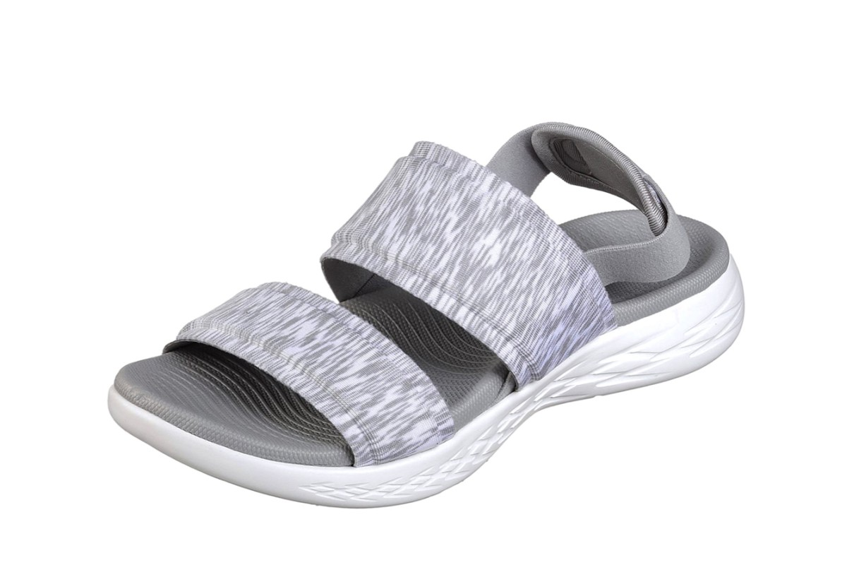Skechers On The Go 600 Foxy Grey Slingback Comfort Sandals