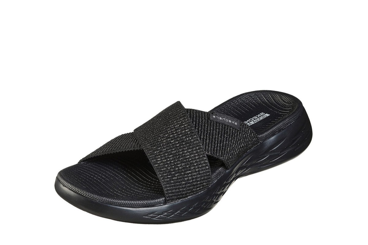 Skechers On The Go 600 Glistening Black Cross Strap Comfort Sandals