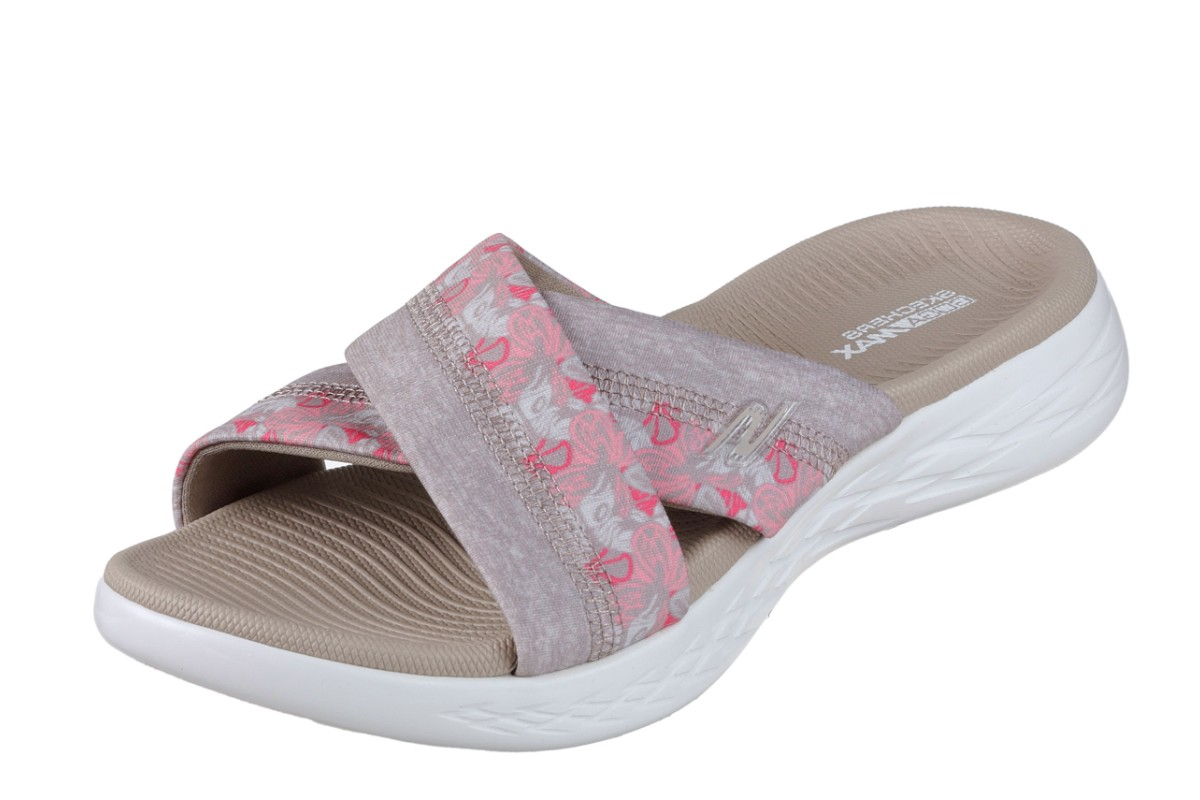 Skechers On The Go 600 Monarch Taupe Floral Women's Comfort Sandals