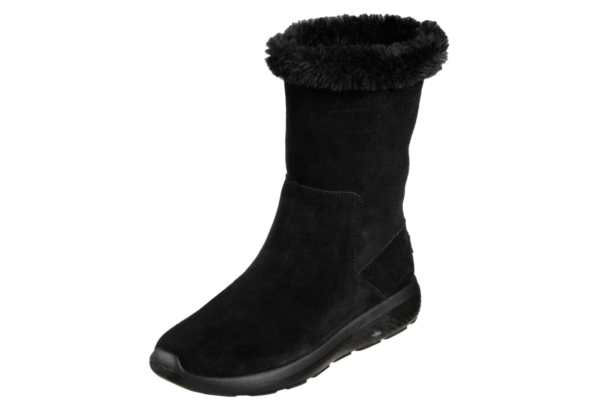 Skechers On The Go City 2 Appealing Black Suede Fur Lined Mid Calf Boots