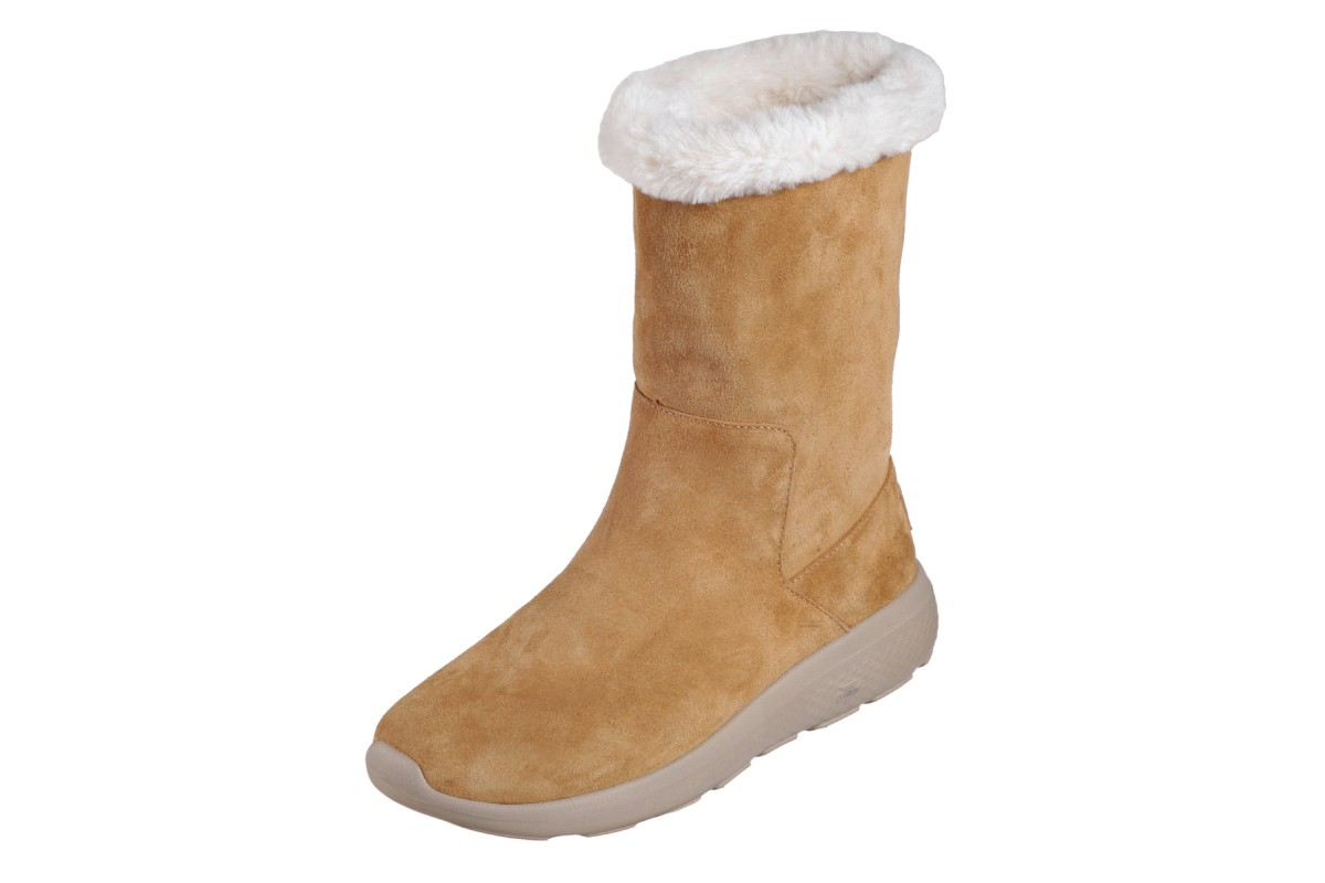 Skechers On The Go City 2 Appealing Chestnut Suede Fur Lined Mid Calf Boots