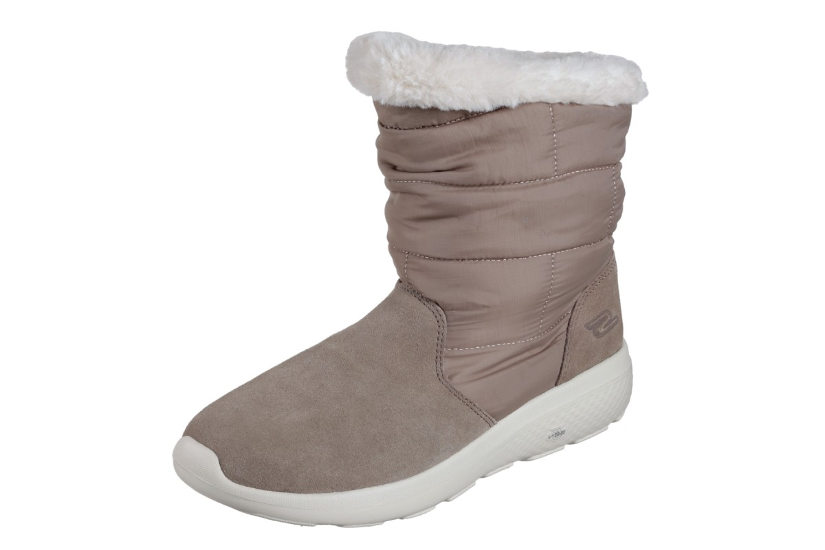 Skechers On The Go City 2 Puff Taupe Fur Lined Comfort Ankle Boots