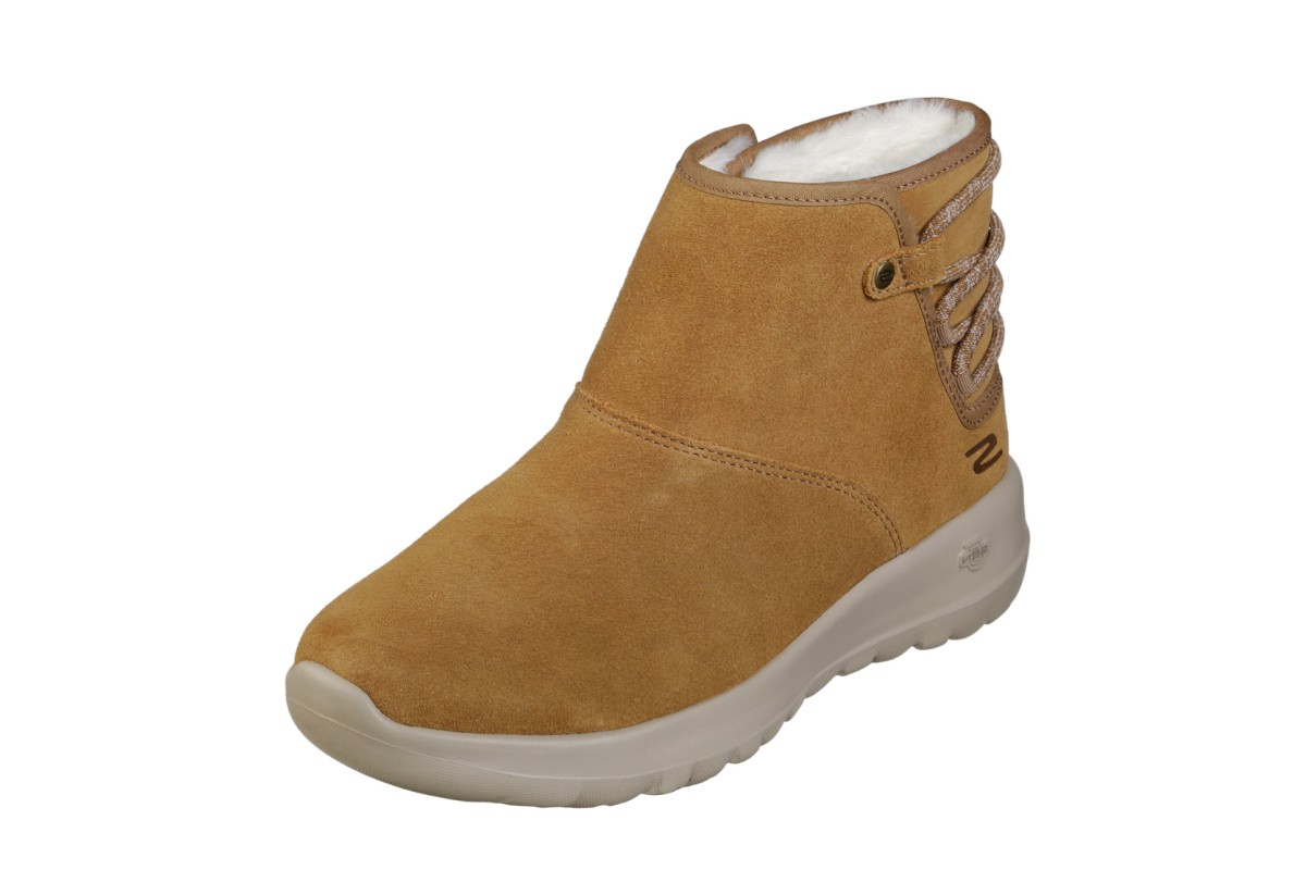 e86d1098c9b1 Skechers On The Go Joy Aglow Chestnut Fur Lined Suede Comfort Ankle Boots -  KissShoe