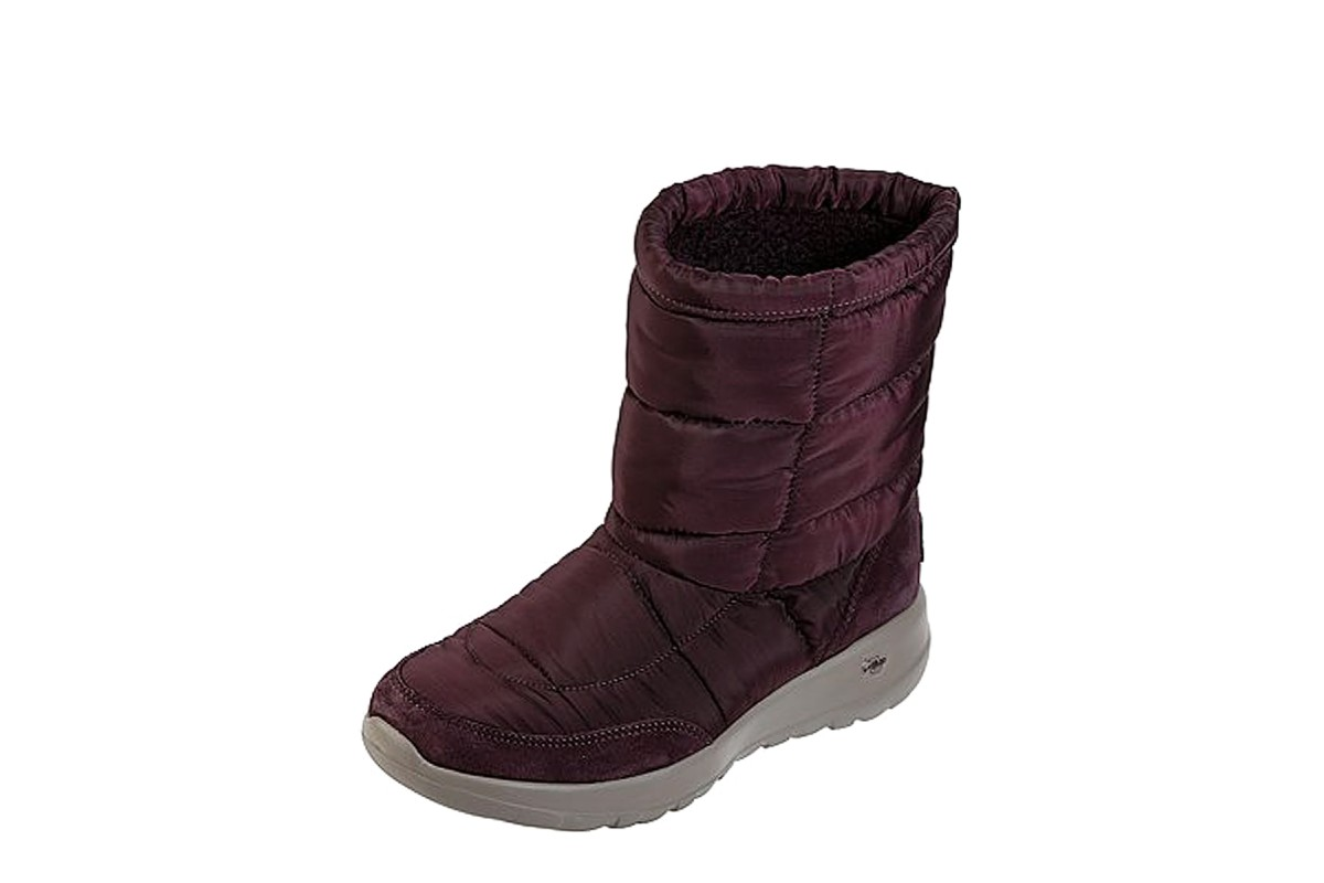 Skechers On The Go Joy Stay Cozy Burgundy Quilted Comfort Ankle Boots