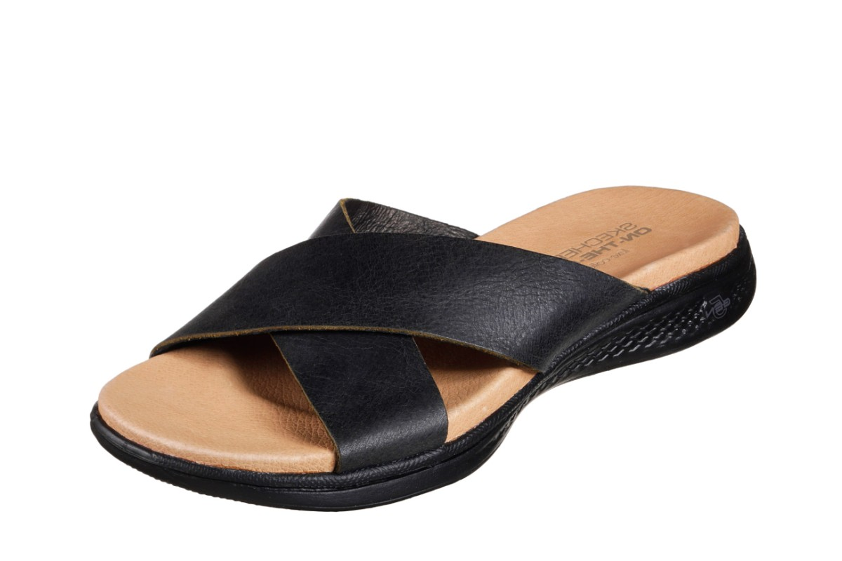Skechers On The Go Luxe Finesse Black Leather Flat Cross Strap Comfort Sandals