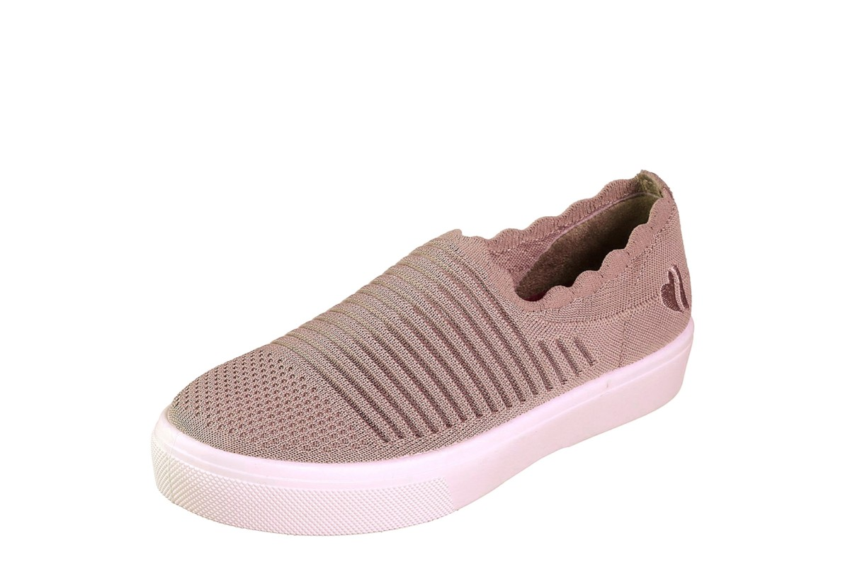 Skechers Poppy Breezy Street Blush Pink Slip On Memory Foam Trainers