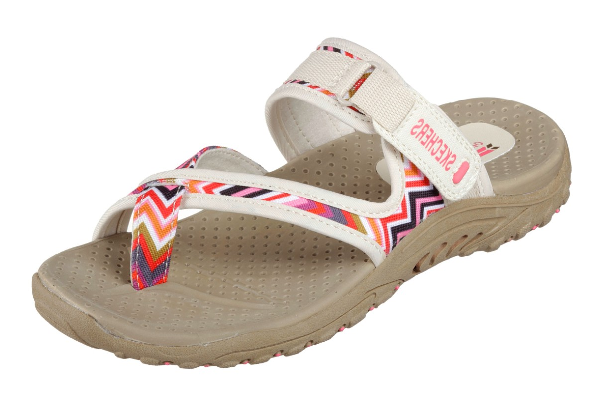 Skechers Reggae Zig Swag Natural Cream Pink Women's Sporty Comfort Sandals