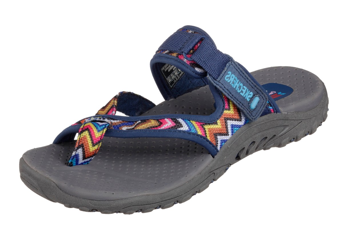 Skechers Reggae Zig Swag Navy Grey Women's Sporty Comfort Sandals