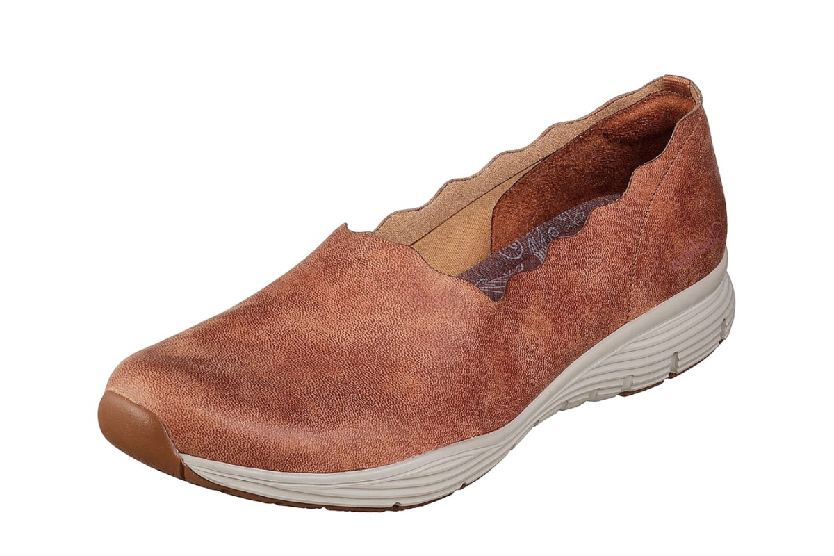 Skechers Seager Triple Ripple Chestnut Tan Memory Foam Comfort Shoes