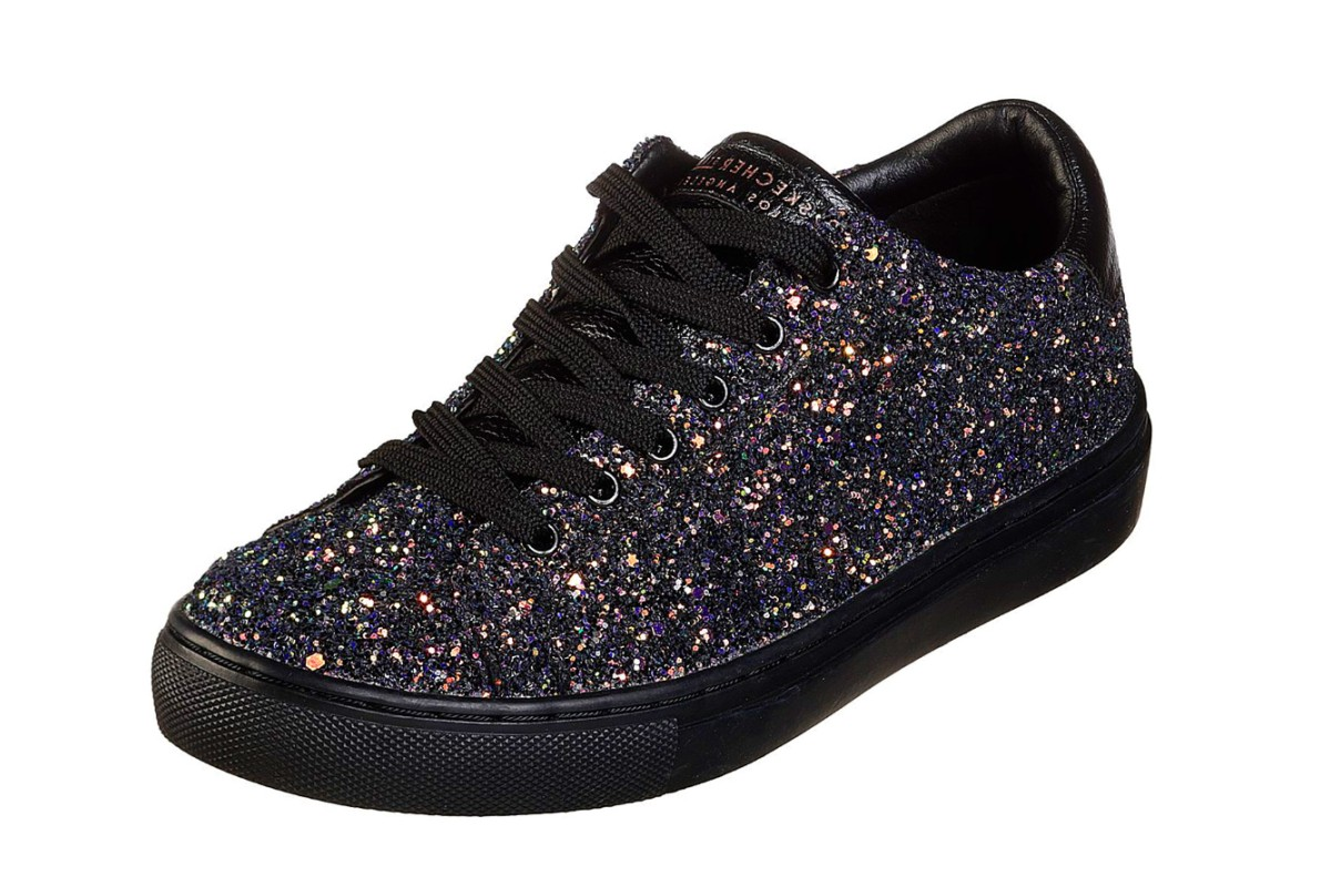 07b49bb99d093 Skechers Side Street Awesome Sauce Black Glitter Memory Foam Trainers -  KissShoe
