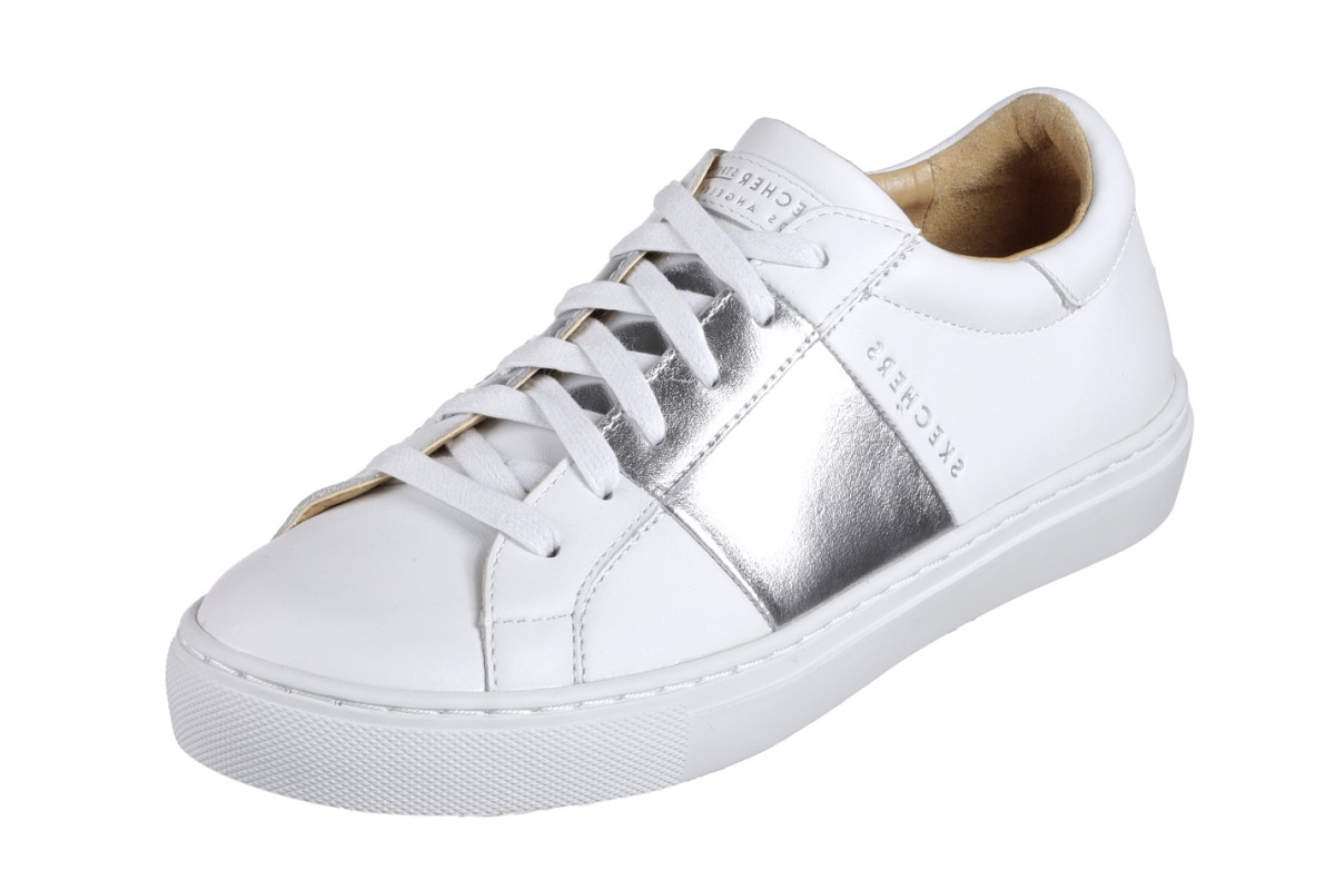 Skechers Side Street Banded White Silver Leather Memory Foam Trainers