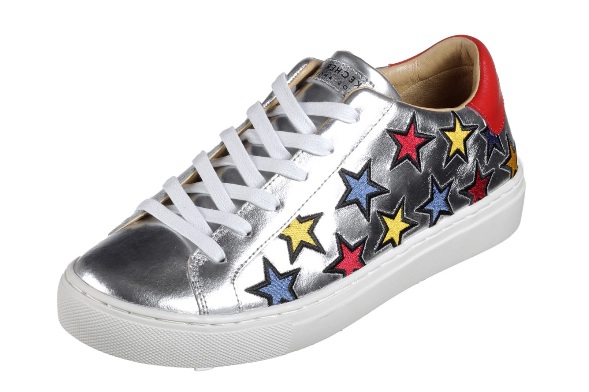 Skechers Side Street Star Side Embroidery Silver Multi Leather Trainers
