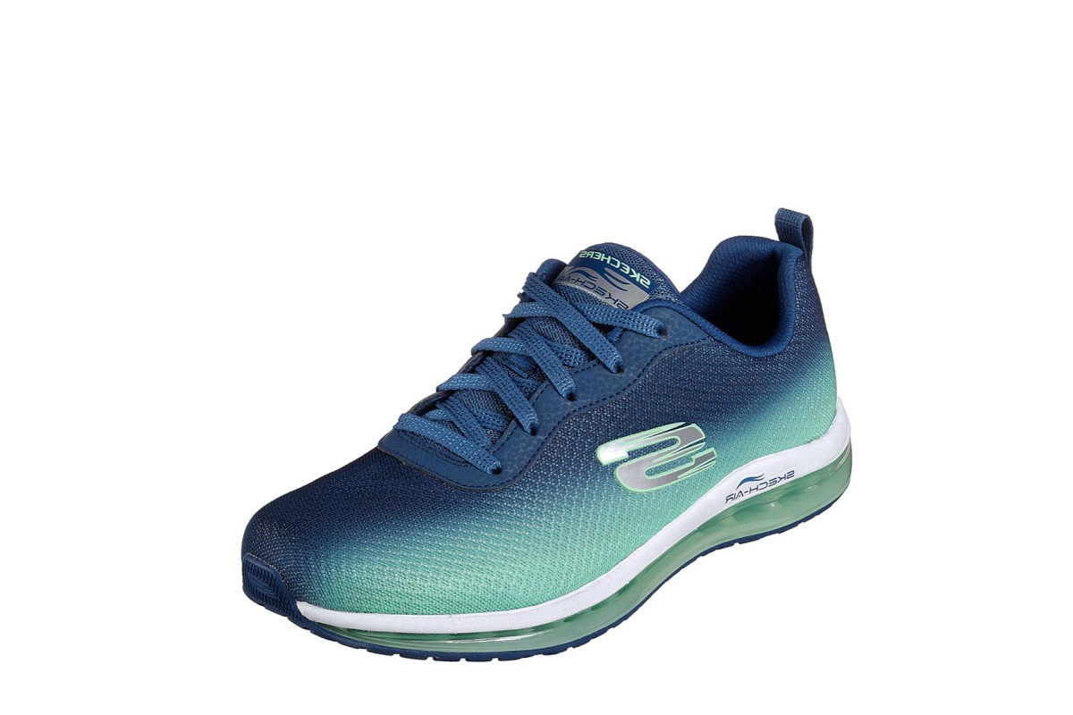 Skechers Skech Air Element Navy Green Memory Foam Trainers