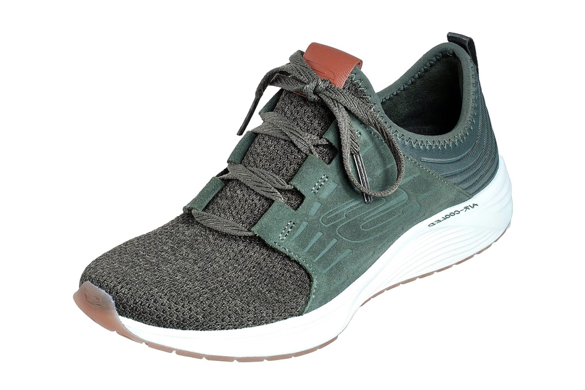 Skechers Skyline Olive Green Memory Foam Slip On Trainers