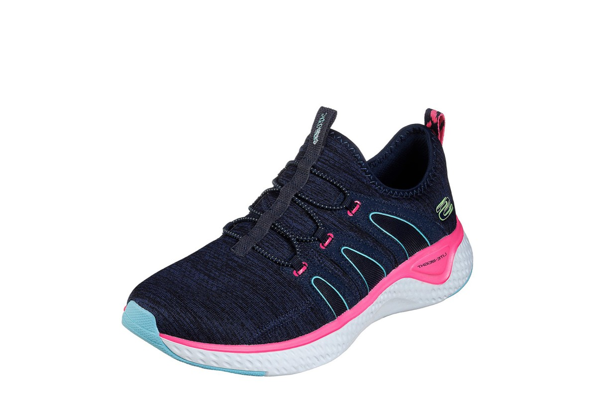 Skechers Solar Fuse Electric Pulse Navy Hot Pink Slip On Memory Foam Trainers