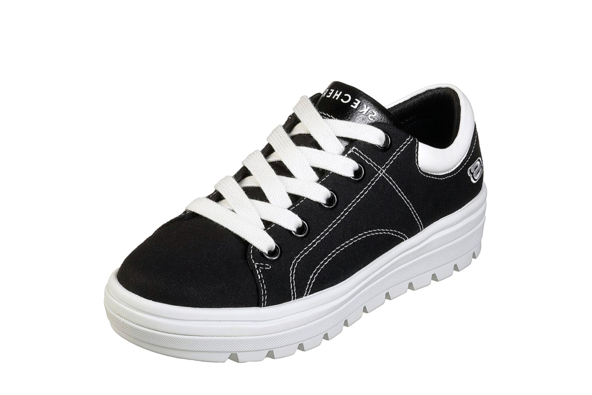Skechers Street Cleat Bring It Back Black Canvas Memory Foam Platform Trainers