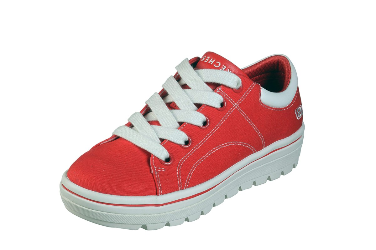 Skechers Street Cleat Bring It Back Red Canvas Memory Foam Platform Trainers