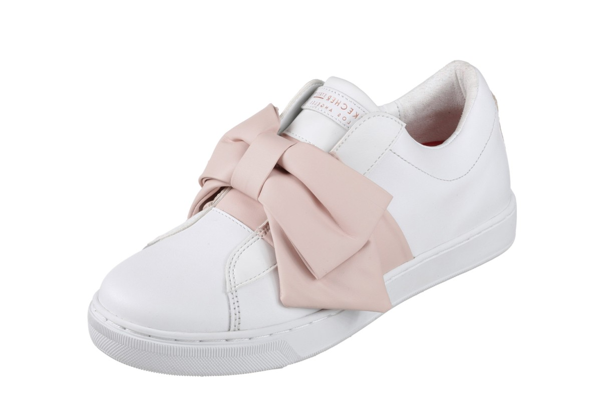 Skechers Street Prima Little Bow White Pink Leather Trainers