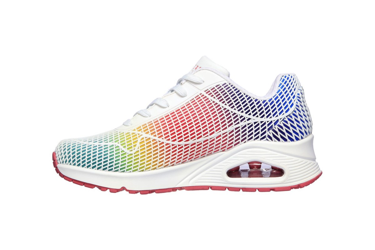 Skechers Street Uno Eye Catching White Multi Rainbow Memory Foam Trainers