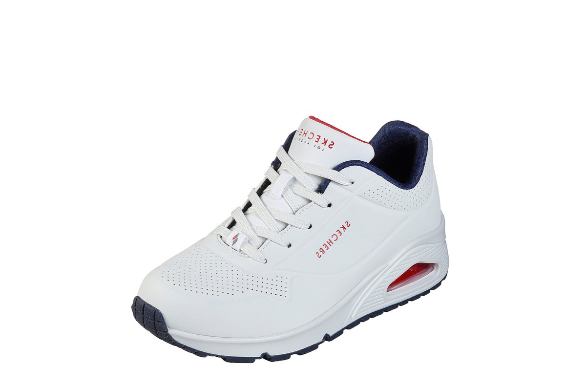 Skechers Street Uno Stand On Air White Navy Red Memory Foam Women's Trainers