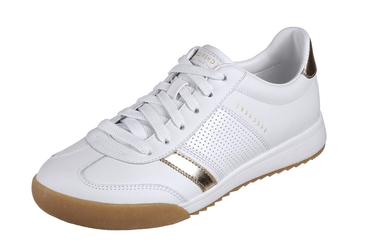 Skechers Street Zinger Flicker White Gold Womens Leather Trainers