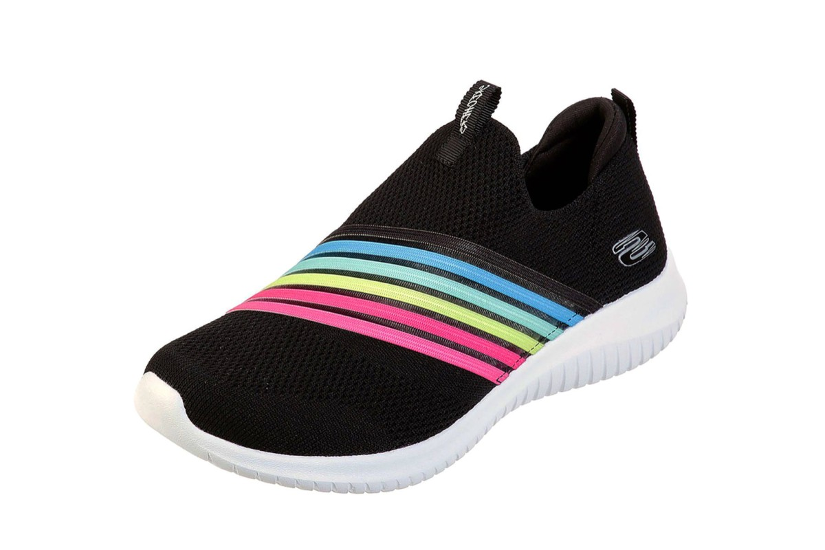 Skechers Ultra Flex Brightful Day Black Multi Rainbow Memory Foam Slip On Trainers