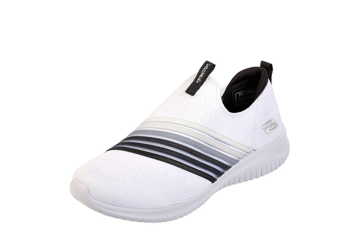 official photos 3eac3 aadfc Skechers Ultra Flex Brightful Day White Black Memory Foam Slip On Trainers  - KissShoe