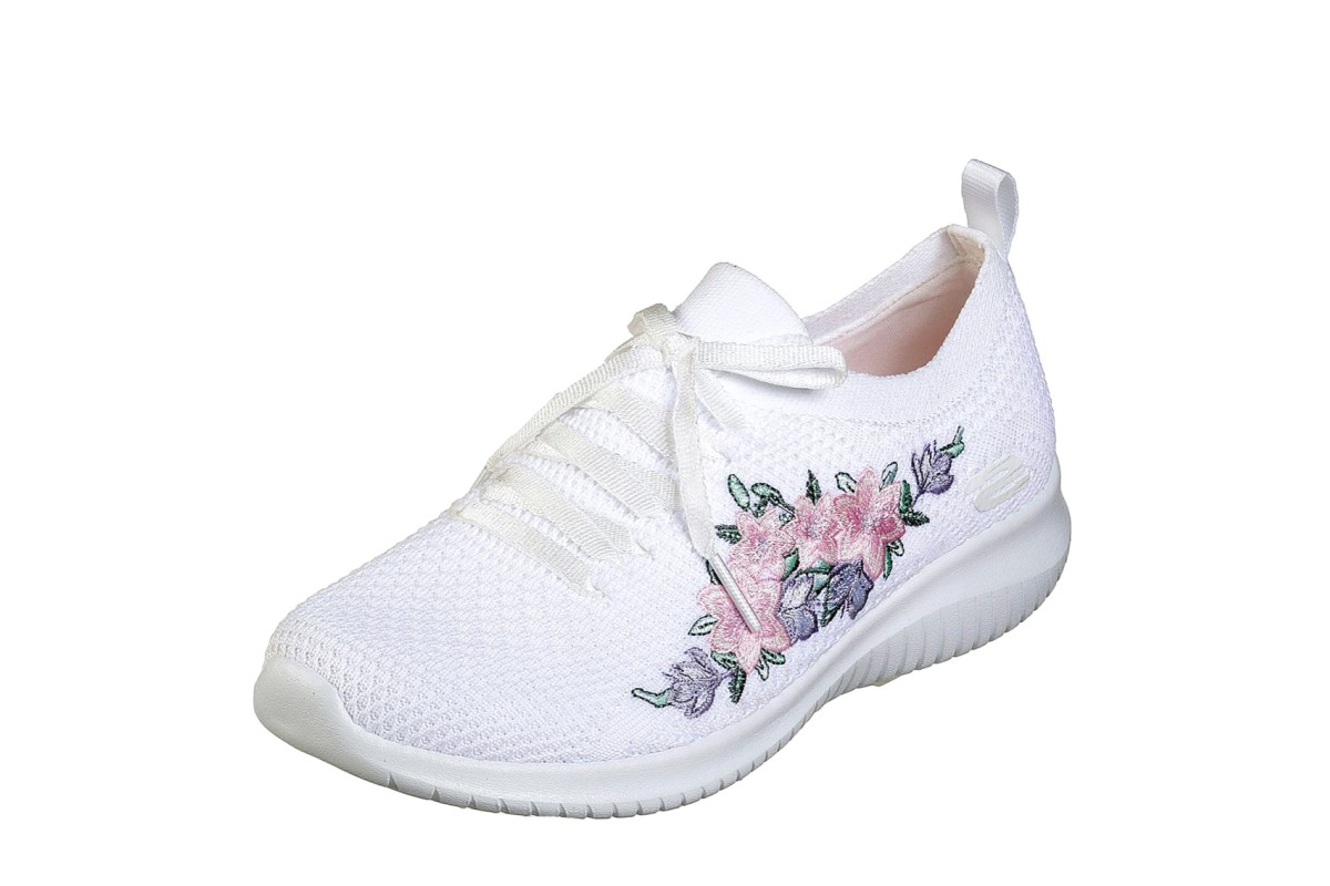 Skechers Ultra Flex Fresh Pick White Multi Floral Embroidered Memory Foam  Trainers - KissShoe dc850c856fd5