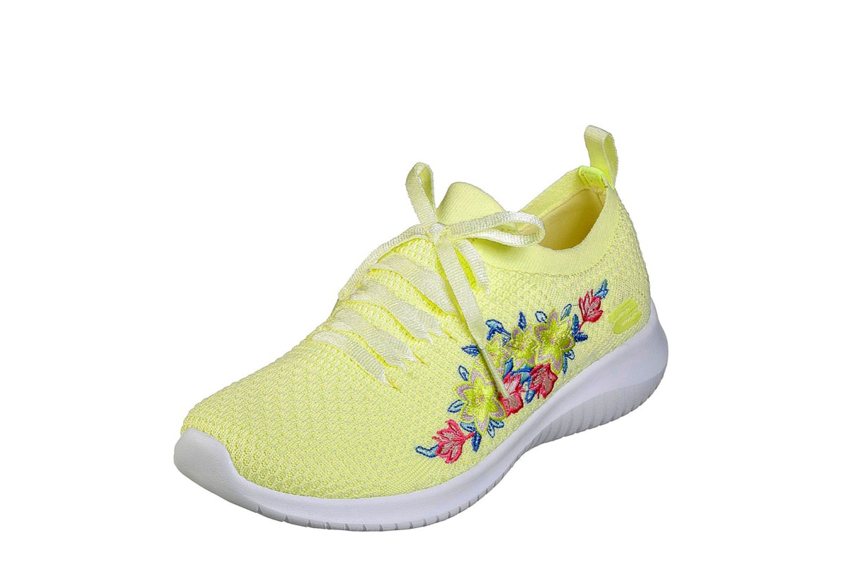 Skechers Ultra Flex Fresh Pick Yellow Multi Floral Embroidered Memory Foam Trainers
