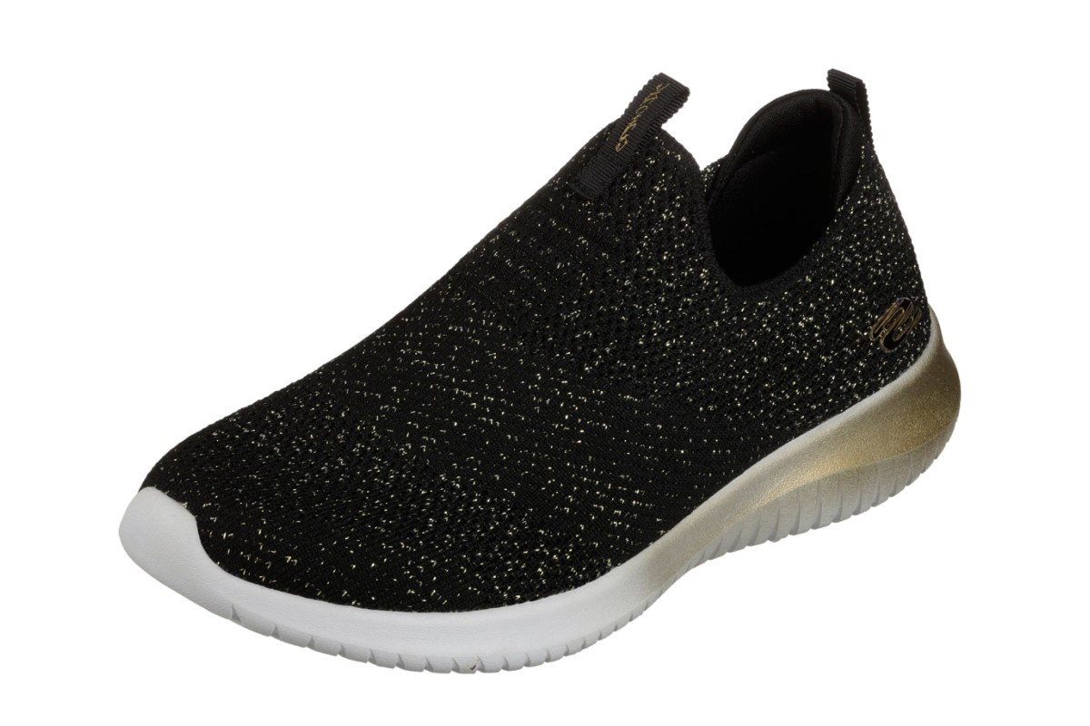 5b718ebe0c7b8 Skechers Ultra Flex Metamorphic Black Gold Memory Foam Trainers Shoes -  KissShoe