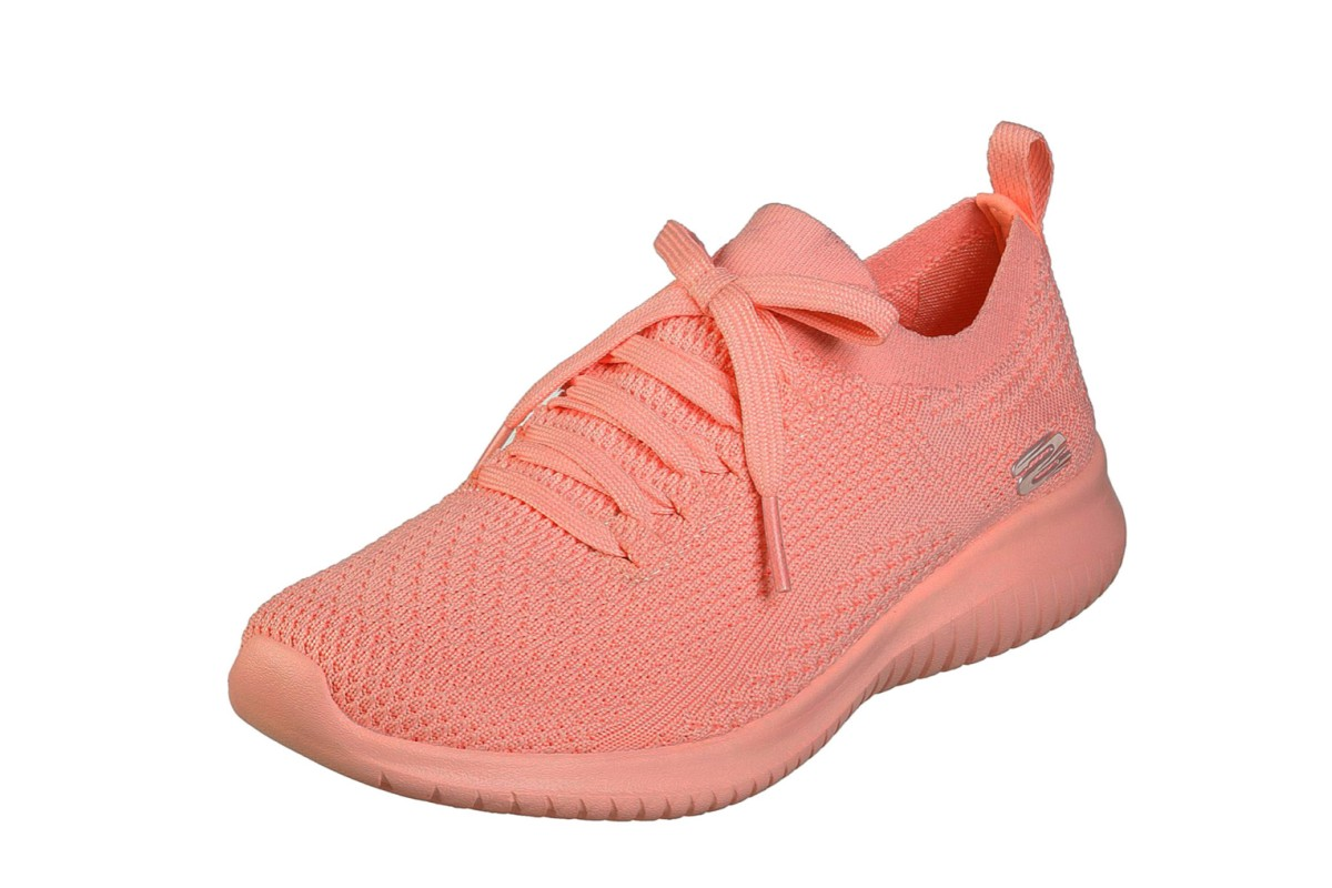 Skechers Ultra Flex Pastel Party Coral Memory Foam Womens Trainers