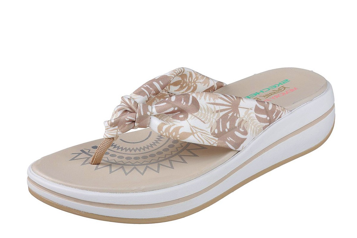 8e0d6cb0fb2 Skechers Upgrades Pac Island Natural Beige Floral Wedge Flip Flops Sandals