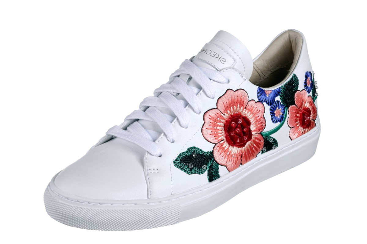 Skechers Vaso Flor White Leather Floral Embroidered Memory Foam Trainers